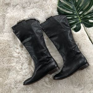 Frye Riding Boots Leather Black 7.5